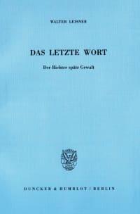 Cover Das letzte Wort