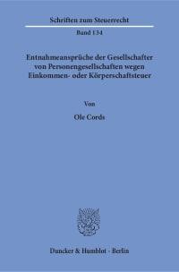 Cover Entnahmeansprüche der Gesellschafter von Personengesellschaften wegen Einkommen- oder Körperschaftsteuer