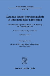 Cover Gesamte Strafrechtswissenschaft in internationaler Dimension