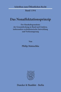Cover Das Nonaffektationsprinzip