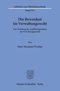 Cover Die Beweislast im Verwaltungsrecht
