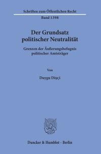 Cover Der Grundsatz politischer Neutralität