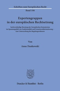 Cover Expertengruppen in der europäischen Rechtsetzung