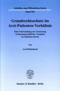Cover Grundrechtsschutz im Arzt-Patienten-Verhältnis