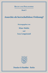 Cover Anarchie als herrschaftslose Ordnung?