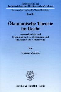 Cover Ökonomische Theorie im Recht