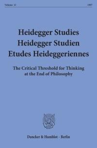 Cover Heidegger Studies / Heidegger Studien / Etudes Heideggeriennes