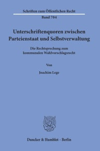 Cover Unterschriftenquoren zwischen Parteienstaat und Selbstverwaltung