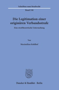 Cover Die Legitimation einer originären Verbandsstrafe