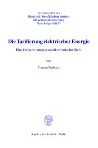 Cover Die Tarifierung elektrischer Energie