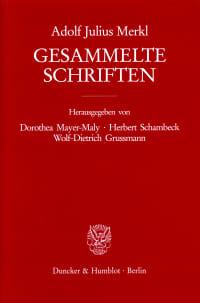 Cover Gesammelte Schriften