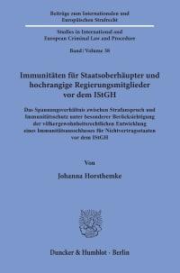 Cover Immunitäten für Staatsoberhäupter und hochrangige Regierungsmitglieder vor dem IStGH