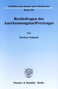 Cover Rechtsfragen des Anerkennungstarifvertrages