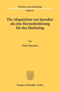 Cover Die Akquisition von Spenden als eine Herausforderung für das Marketing