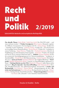 Cover Recht und Politik (RuP)