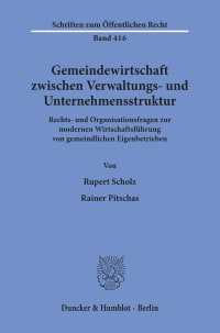 Cover Gemeindewirtschaft zwischen Verwaltungs- und Unternehmensstruktur