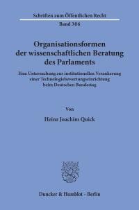Cover Organisationsformen der wissenschaftlichen Beratung des Parlaments