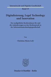 Cover Digitalisierung, Legal Technology und Innovation