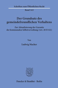 Cover Der Grundsatz des gemeindefreundlichen Verhaltens