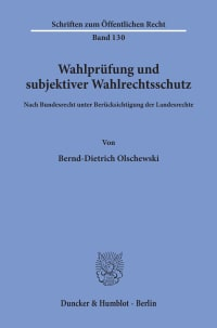 Cover Wahlprüfung und subjektiver Wahlrechtsschutz