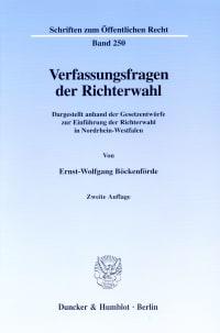Cover Verfassungsfragen der Richterwahl