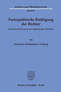 Cover Parteipolitische Betätigung der Richter