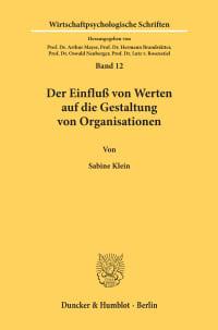 Cover Der Einfluß von Werten auf die Gestaltung von Organisationen