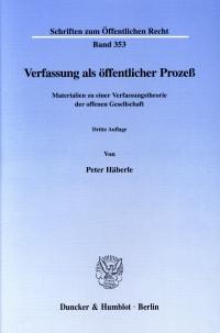 Cover Verfassung als öffentlicher Prozeß