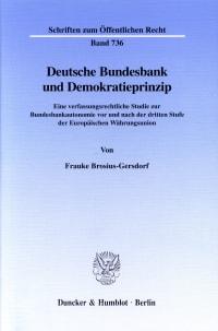 Cover Deutsche Bundesbank und Demokratieprinzip