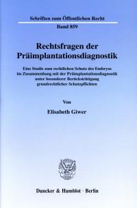 Cover Rechtsfragen der Präimplantationsdiagnostik