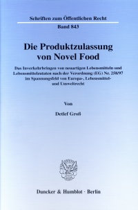 Cover Die Produktzulassung von Novel Food