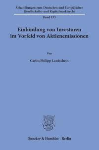 Cover Einbindung von Investoren im Vorfeld von Aktienemissionen