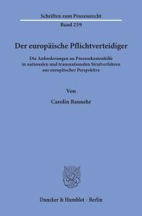Cover Der europäische Pflichtverteidiger
