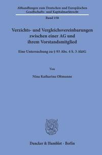 Cover Verzichts- und Vergleichsvereinbarungen zwischen einer AG und ihrem Vorstandsmitglied