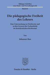 Cover Die pädagogische Freiheit des Lehrers