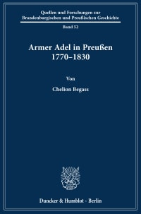 Cover Armer Adel in Preußen 1770–1830