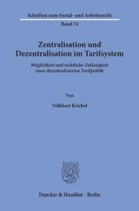 Cover Zentralisation und Dezentralisation im Tarifsystem