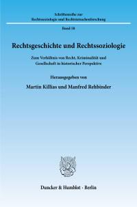 Cover Rechtsgeschichte und Rechtssoziologie
