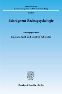 Cover Beiträge zur Rechtspsychologie