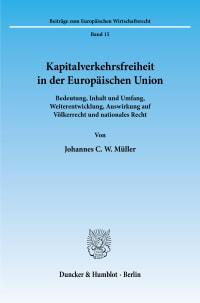 Cover Kapitalverkehrsfreiheit in der Europäischen Union