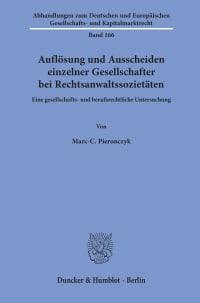 Cover Auflösung und Ausscheiden einzelner Gesellschafter bei Rechtsanwaltssozietäten