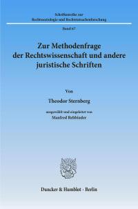 Cover Zur Methodenfrage der Rechtswissenschaft und andere juristische Schriften