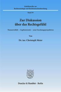Cover Zur Diskussion über das Rechtsgefühl