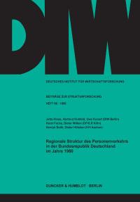 Cover Regionale Struktur des Personenverkehrs in der Bundesrepublik Deutschland im Jahre 1980