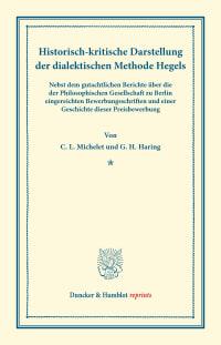 Cover Historisch-kritische Darstellung der dialektischen Methode Hegels