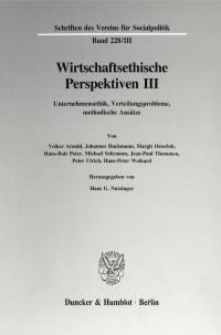 Cover Wirtschaftsethische Perspektiven III