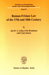 Cover Roman-Frisian Law of the 17th and 18th Century