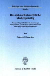 Cover Das datenschutzrechtliche Medienprivileg
