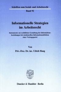 Cover Informationelle Strategien im Arbeitsrecht