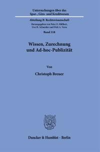 Cover Wissen, Zurechnung und Ad-hoc-Publizität